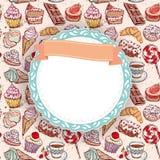手拉的糖果店无缝的样式新月形面包杯形蛋糕糖果蛋白软糖冰淇凌蛋糕多福饼和咖啡 乱画框架, ribbo 库存照片