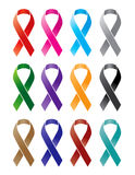 Ribbon. Multiple color of awareness ribbons Royalty Free Stock Images