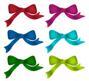 Ribbon. Bows - red, pink, blue, green - all colors collection Royalty Free Stock Photos