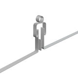 Ribbon 3D Symbol Stick Figure Person Border. A ribbon 3D symbol person stands on a line to form a border Royalty Free Stock Photography