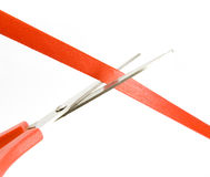 Ribbon. Cutting red ribbon isolated on white Stock Images