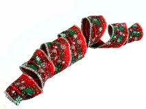 Ribbon. Pattern Christmas ribbon rolled on white background Stock Photography