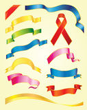 Ribbon. Set of vector multicolored ribbons on light-yellow background Stock Photo