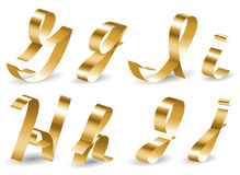 Ribbon alphabet GIHJ. Letters of english alphabet from gold ribbon Royalty Free Stock Images