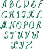 Ribbon Alphabet. Green ribbon calligraphic alphabet, vector EPS 10 Stock Photos