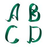 Ribbon Alphabet. Green ribbon Alphabet - set of letters a,b,c,d Stock Photography