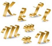 Ribbon alphabet KLMN Stock Photos