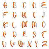Ribbon alphabet, latin letters vector Stock Images