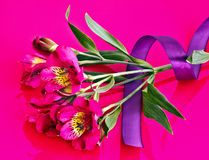 Ribbon on Alstroemeria flower Royalty Free Stock Images