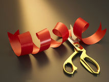 Ribbon ang scissors Stock Photo