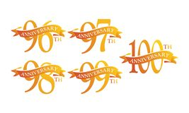 Ribbon Anniversary Template Set. Vector Royalty Free Stock Photos