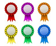 Free Ribbon Award Badge Red Green Blue Yellow Magenta Orange On Background Stock Images - 116712624