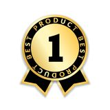 Ribbon award best product. Gold ribbon award icon with number one isolated on white background. Best product golden. Label for badge, medal, guarantee quality Stock Illustration