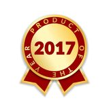 Ribbon award best product of year 2017. Gold ribbon award icon isolated white background. Best product golden label for. Prize, badge, medal, guarantee quality Royalty Free Stock Photo