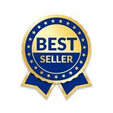 Ribbon award best seller. Gold ribbon award icon isolated white background. Bestseller golden tag sale label, badge. Medal, guarantee quality product, business Royalty Free Stock Images