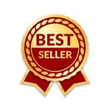 Ribbon award best seller. Gold ribbon award icon isolated white background. Bestseller golden tag sale label, badge. Medal, guarantee quality product, business Stock Image