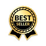 Ribbon award best seller. Gold ribbon award icon isolated white background. Bestseller golden tag sale label, badge. Medal, guarantee quality product, business stock illustration