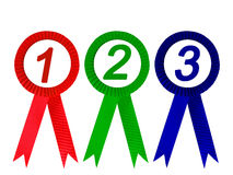 Ribbon award isolated. Red  green and blue ribbon award isolated , clipping path Stock Image