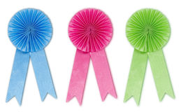 Ribbon Award Set. Blue Pink Green in white background Stock Photo