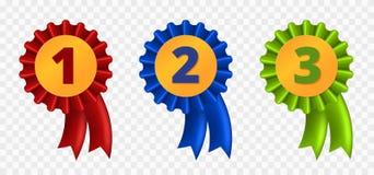 Ribbon award, Three variants. Red, blue and green, vector illustration Royalty Free Stock Image