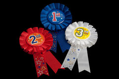 Ribbon awards for the first, second and third place Stock Photography