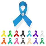 Ribbon awareness. Set of multicolored ribbons in a loop, symbolizing support and awareness of the problem Stock Images