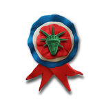 Ribbon badge. With Statute of Liberty for 4 July American Independence Day and other events,  on white color background. Vector illustration. Plasticine Royalty Free Stock Images