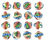 Ribbon Balls. Colorful ribbon balls 3d illustration abstract, horizontal, over white, isolated Royalty Free Stock Photo