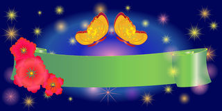 Ribbon banner for Easter eggs, buterfly Stock Photo