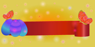 Ribbon banner for Easter with eggs, butterfly Stock Photo