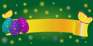 Ribbon banner for Easter with eggs, butterfly Stock Photos