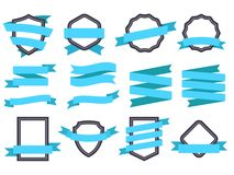Ribbon banner. Frames and ribbons blue flat isolated vector set stock illustration