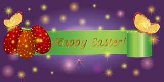 Ribbon banner Happy Easter with eggs, butterfly. Set ribbon banner for Happy Easter. Ribbon banner with eggs and butterfly. Vector illustration Royalty Free Stock Photo