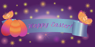 Ribbon banner Happy Easter eggs, butterfly. Set ribbon banner for Happy Easter. Ribbon banner with eggs and butterfly. Vector illustration Royalty Free Stock Photo