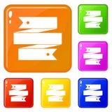 Ribbon banner icons set vector color. Ribbon banner icons set collection vector 6 color isolated on white background vector illustration