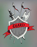 Ribbon banner old emblem with sward and ax. security and protect Royalty Free Stock Photography