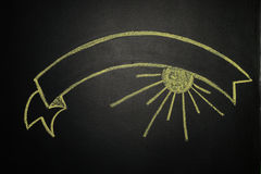 Ribbon Banner, painting with chalk on a blackboard Stock Image