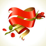 Ribbon banner in the shape of heart and red rose Royalty Free Stock Photo