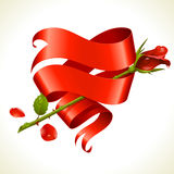 Ribbon banner in the shape of heart and red rose Stock Photo