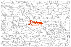 Ribbon banners doodle set with red lettering. Hand drawn set of ribbon banners doodles with red lettering in vector Stock Image