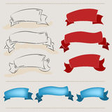 Ribbon banners, hand drawn set Stock Image