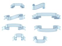 Ribbon banners light blue multiple sizes. And shapes isolated on white stock illustration