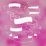 Ribbon banners on pink background Royalty Free Stock Image