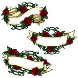 Ribbon banners with roses around Royalty Free Stock Image