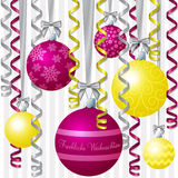 Ribbon and Bauble Christmas Card Royalty Free Stock Photo