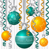 Ribbon and Bauble Christmas Card Royalty Free Stock Photography