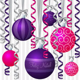 Ribbon and Bauble Christmas Card Royalty Free Stock Images