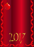 2017 Ribbon and Bauble. A Christmas new year 2017 background made up of red ribbons and Christmas decoration ball Royalty Free Stock Image