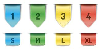 Ribbon bookmarks. Realistic Ribbon bookmark collection,  On white Background Stock Images