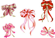 Ribbon Bow. Vector illustration of 5 bows in  pink and red Stock Images